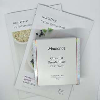 [Mamonde] Cover Fit Powder Pact #17 cool beige - 12g (SPF30 PA+++) + 2x Innisfree Masks