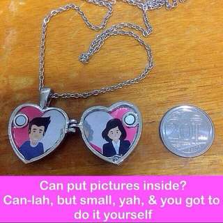 Rhinestones Heart Locket (magnetic closure) Necklace  [ chokers valentine Day couple small message note gifts uncle.anthony uncle anthony uac] FOR MORE PICS & DETAILS, 👉 http://carousell.com/p/117271633