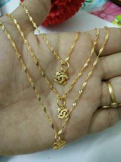 [PREORDER] 916 Gold Chanel Necklace + Pendant Set