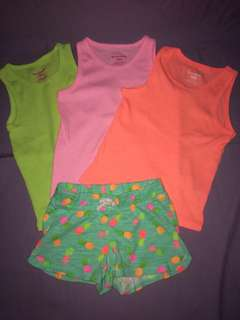 Lot of 4 tank tops & shorts 3T
