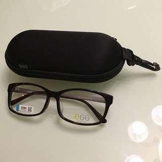 Egg 眼鏡框 粗框豹紋暗花 全新連盒