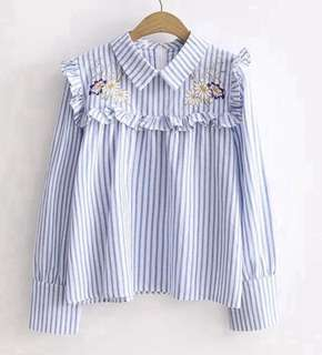 PO - Embroidered Sweet Ruffled Loose Turn-down Collar Long Sleeve Cotton Striped Top