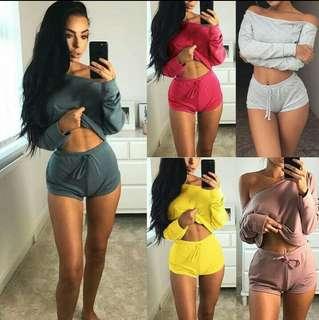 Two piece women crop top blouse off shoulder shirt pants trouser outfit (Preorder)