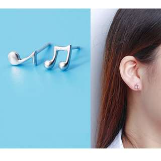 Sterling Silver Musical Notes Stud