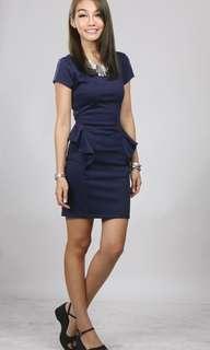 Hollyhoque Ruffled Peplum Pencil Dress in Blue