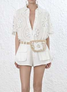 PO - Embroidery Beading Hollow V Neck Shirt (2 colors)