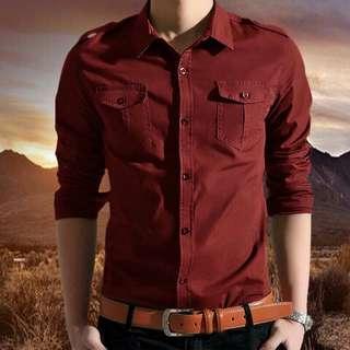 Kemeja cool man Warna maroon