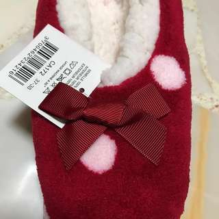 Brand new red white polka dots bedroom slippers cotton on ribbon