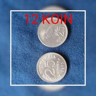 """Di jual cpt uang koin lama,12 uang koin (25 rupiyah thn 1971) yg suka barang antik yu buruan di order karna stok terbatas .yg mnat or tnya"""" langsung wa 089644442316"""