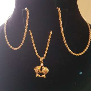 """24""""long Rope Chain with Fish lovers pendant"""