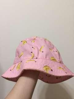 🚚 粉色香蕉漁夫帽 二手近全新