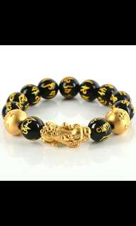 3D HARD GOLD LUCKY PIXIU MEN BRACELET WITH ENGRAVED MANTRA C/W BLESSING CERTIFICATE & GIFTBOX