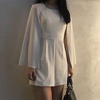 White formal playsuit with side cape