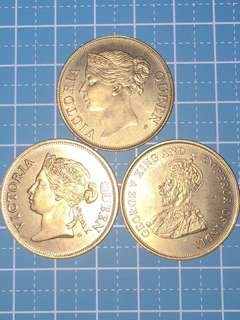 Singapore Mint Reolica of Straits Settlements Coins (3pcs)