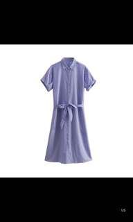 European and American new lapel belt lace hem split short sleeve striped dress