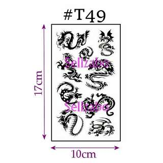 ★Dragons Totems Fake Temporary Body Tattoos Stickers Sellzabo Black Colour Fierce Animals #T49