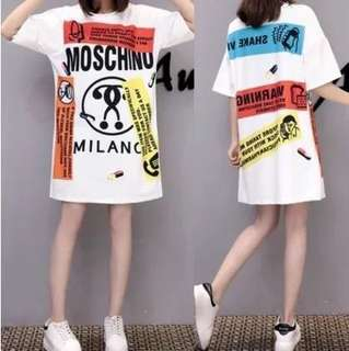 (M~2XL) Summer cartoon printed short-sleeved long loose T-shirt dress