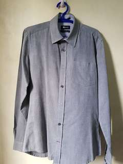 MEMO Men Plain Gray Long Sleeves Dress Shirt