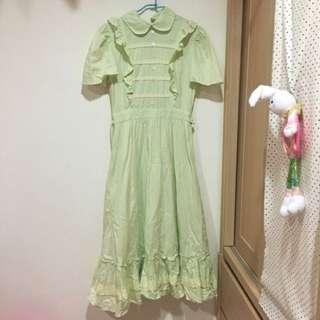 古著 古董 蘋果綠歐式洋裝 非常少見~