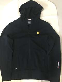 Ferrari Logo Plain Hoodie - Black