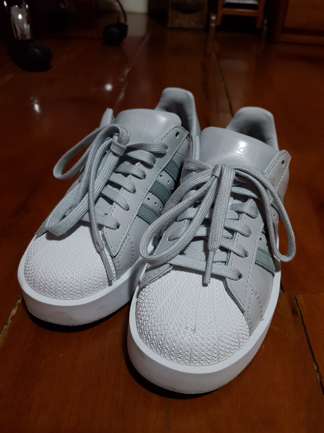 Adidas Superstar Bold Platform Shoes (Light Grey), Women's Fashion, Shoes on Carousell
