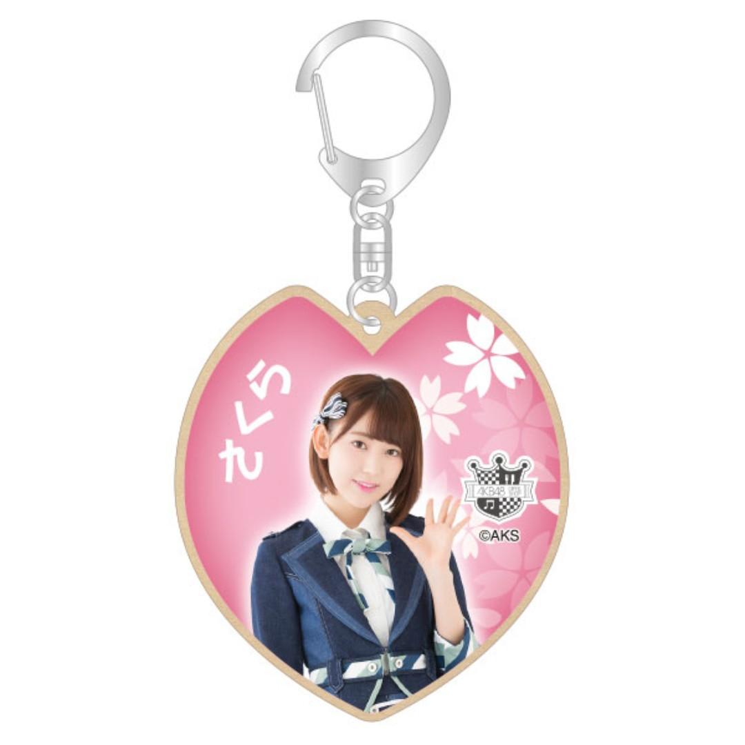 鎖匙扣:AKB48 Cafe & Shop 木鑰匙扣 - 宮脇咲良【全新未開封】