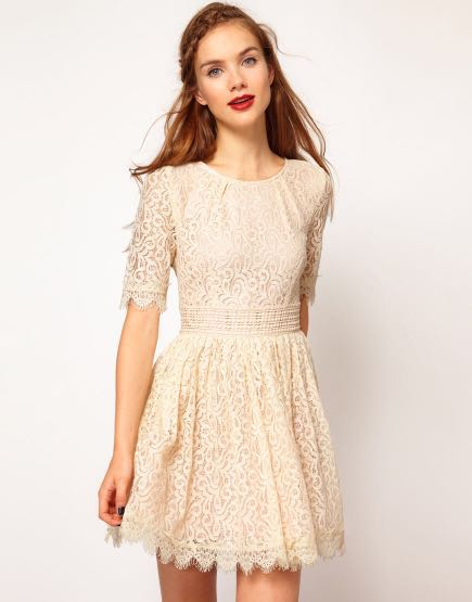 38bb0b41 ASOS Darling Amelia Lace Skater Dress, Women's Fashion, Clothes ...