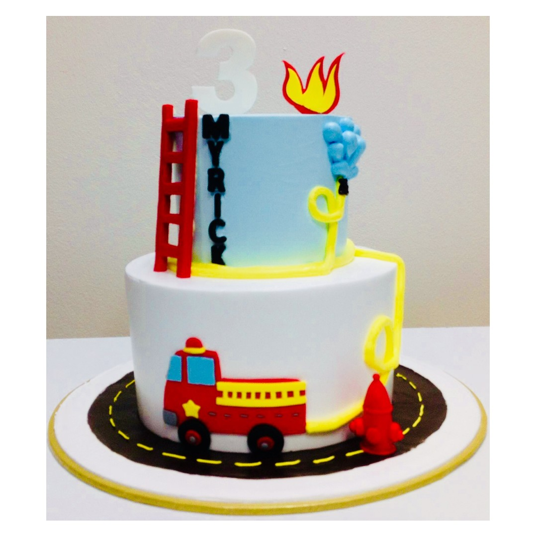 Admirable Fire Engine Birthday Cake Food Drinks Baked Goods On Carousell Personalised Birthday Cards Arneslily Jamesorg