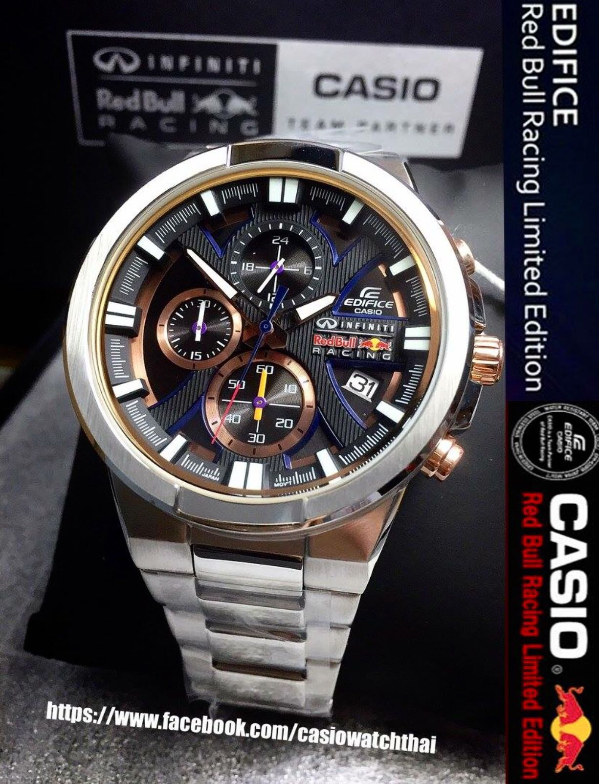 946f42e1bcc5 CASIO EDIFICE INFINITI RED BULL F1 RACER WATCH EFR-544RB-1A LIMITED ...