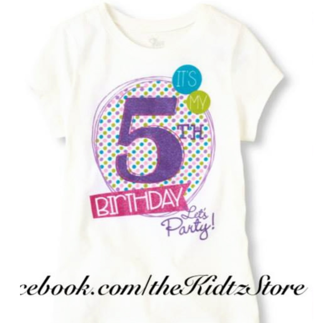 92dc107cc Girl 5th Birthday Graphic Tee 3, Babies & Kids, Girls' Apparel on ...