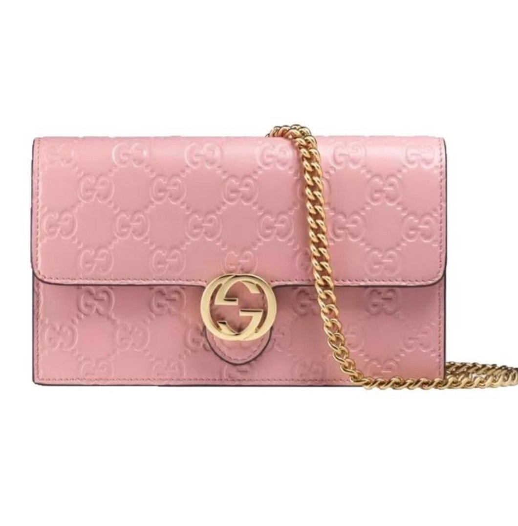 15560b308be GUCCI Icon GG Chain Wallet Pink Leather Shoulder Bag