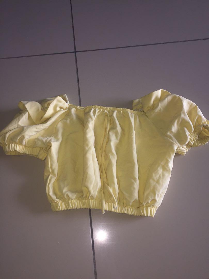 b4111c8ef17332 Light yellow Off Shoulder Top  20under