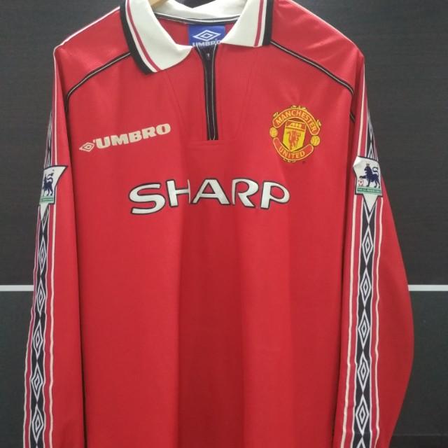1c6ca3b9597 Man United Home 1999 Treble BECKHAM 7 LS Size M Jersey