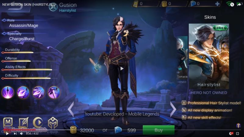 Mobile Legends Preordering Of Gusion Hairstylist Skin Toys