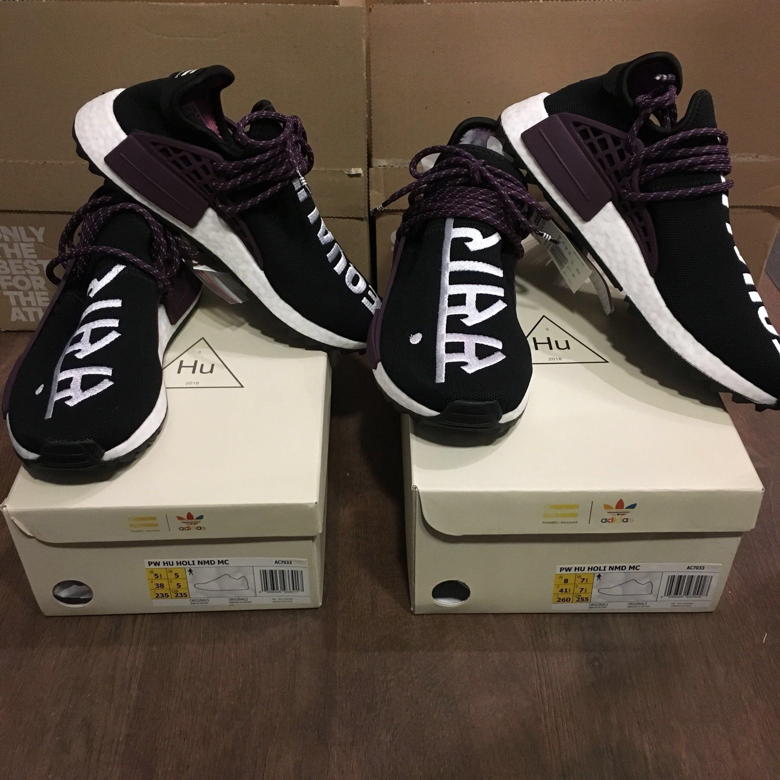 85faf6c8dcc9b4 Pharrell x Adidas NMD Hu Trail Holi (2 pairs Core Black)