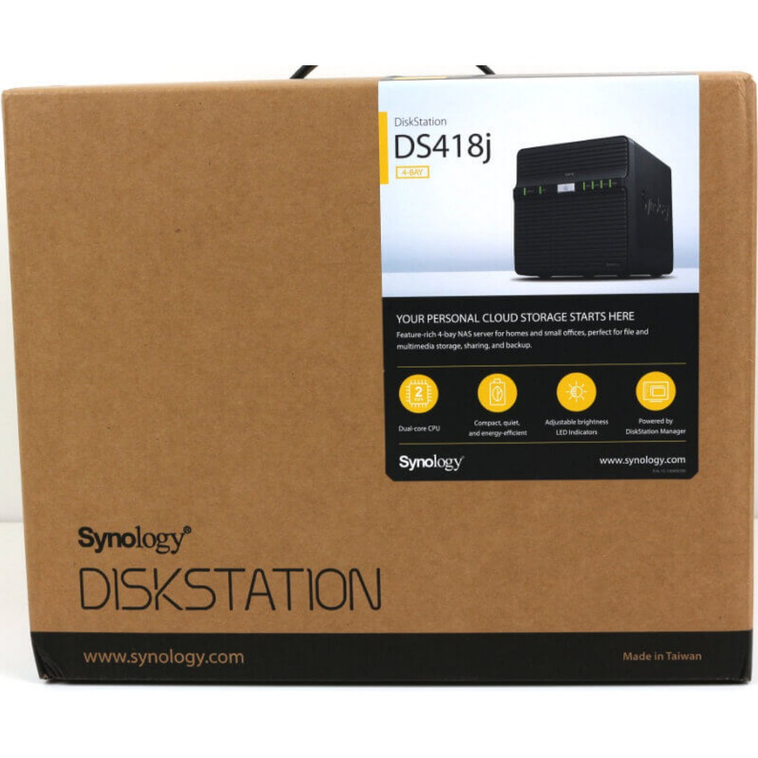 Synology Ds418j Diskstation Nas 4bay Electronics Computer Parts Cooler Master Dual Curved Tempered Glass Side Panel For Cosmos C700 Accessories On Carousell