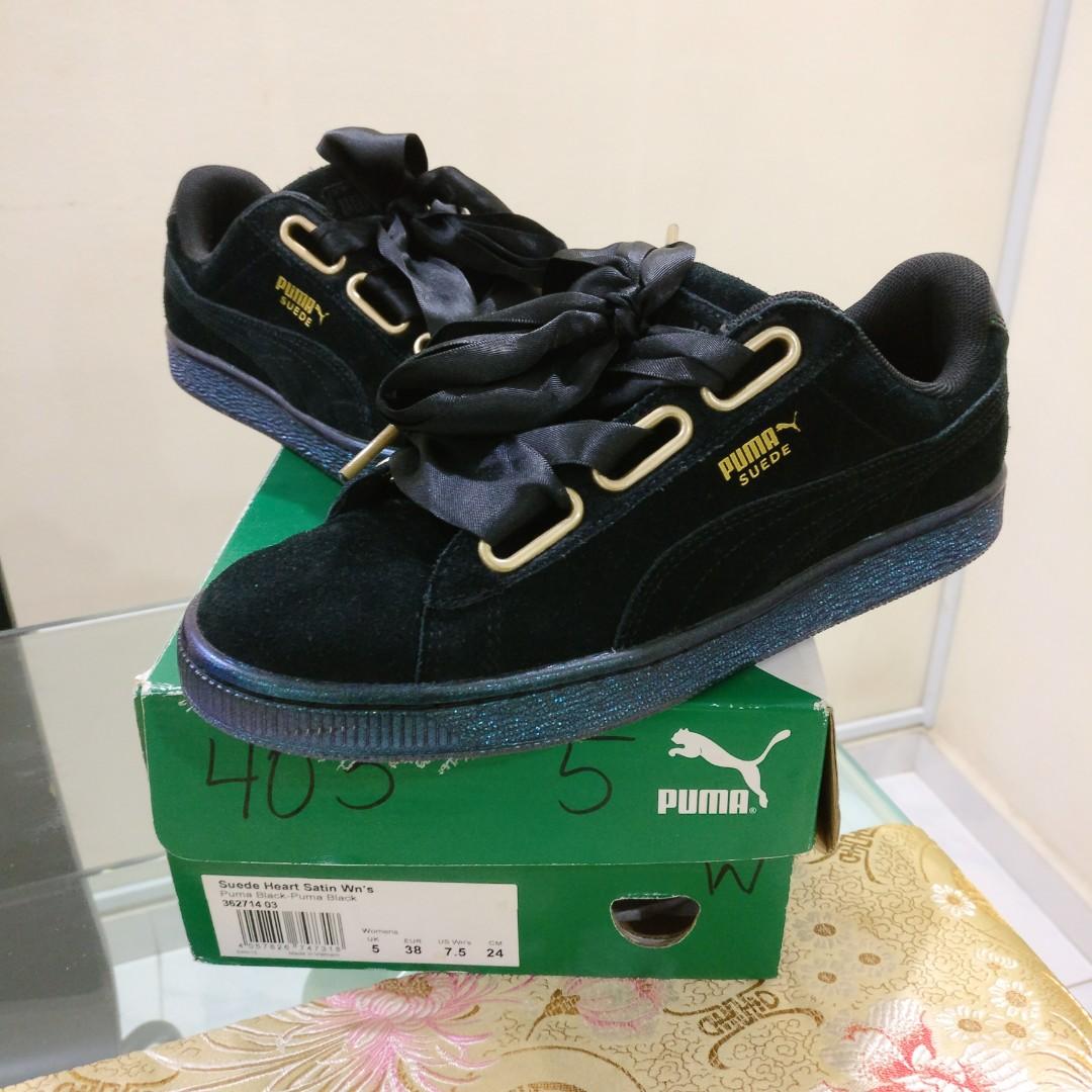 413b04c8e679 UK5 Womens US7.5 EU38 24cm Puma Suede Heart - Satin Black, Women's Fashion,  Shoes on Carousell
