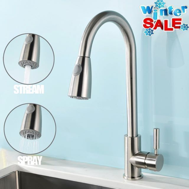 Vapsint Modern Stainless Steel Single Handle Single Hole Pull Out