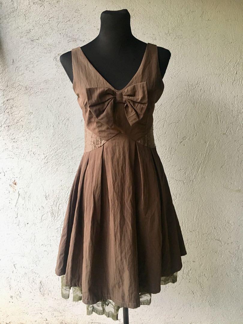 Vintage-style Choco Brown Cocktail Dress, Preloved Women\'s Fashion ...