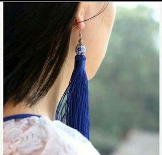Anting Colorful Ceramic Tassel Blue