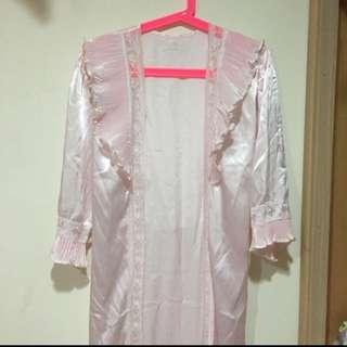 古著 稀少 古董睡袍 嫩粉色