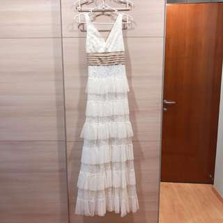 BN White Lace Evening Gown
