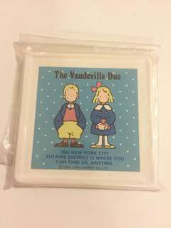 Sanrio vintage The Vaudeville Duo 狗男女 Eddy & Emmy 陶瓷杯墊 1984 9cm 絶版