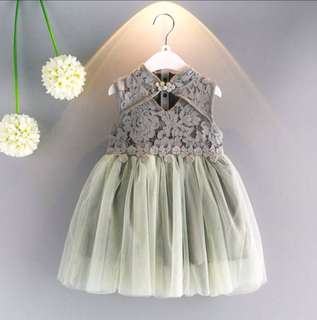 Girls Sleeveless Lace Cheongsam Gauze Dress