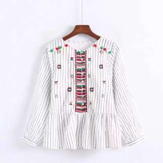 European pastoral geometric embroidery long-sleeved shirt