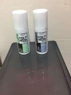 hair colour spray  (green & grey)