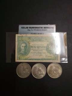 Duit Lama: 10 Cents 1941 & $1 1971