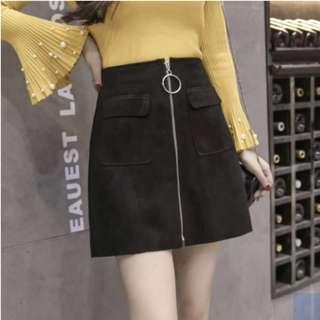 BNIP Black Suede High Waist Skirt