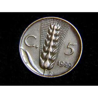 1929年意大利王國(Kingdom of Italy)麥穗10仙銅幣(末代意皇埃曼奴爾三世像)