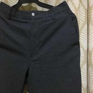 Gray pinstripe trousers (highwaist, tapered)